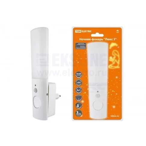 Ночник-фонарь Люкс 3 0,5Вт 2LED 70 лм/Вт 220В Li-Ion 250мАч TDM Electric