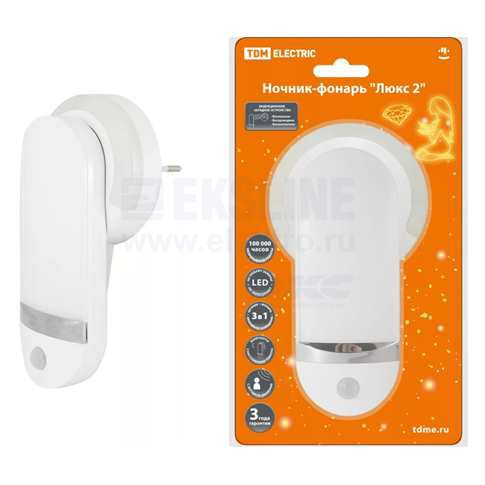 Ночник-фонарь Люкс 2 0,5Вт 11LED 90 лм/Вт 220В Li-Ion 500мАч TDM Electric