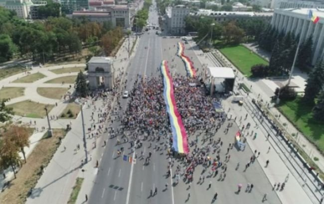 В Молдове проходит митинг за объединение с Румынией