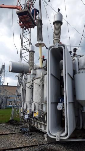 Монтаж ввода 252 кВ с RIN-изоляцией на трансформаторе 40 МВА подстанции 220 кВ «Дальняя» во Владимирской области