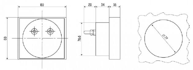 Габаритные и установочные размеры приборов серии Э8030-М1