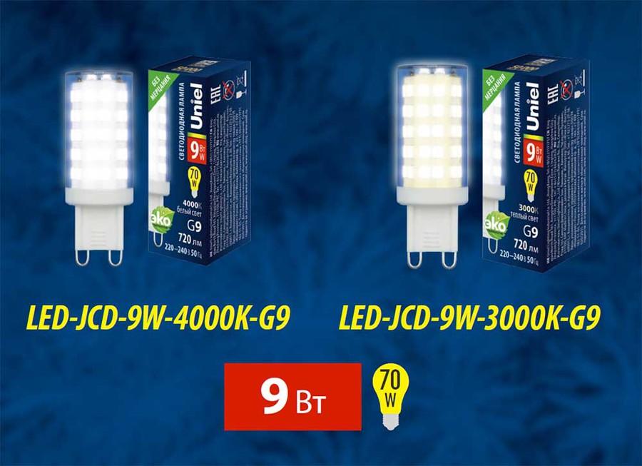 Новые светодиодные лампы LED-JCD с цоколем G9 на 9 Вт от Uniel